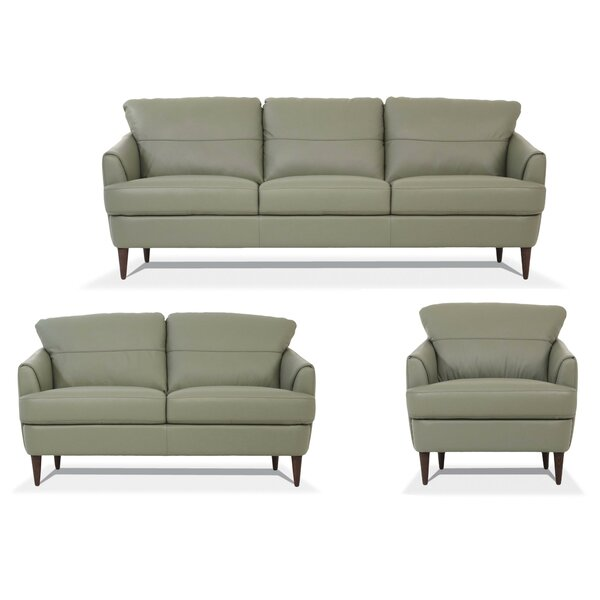 Read Reviews Bexton 3 Piece Leather Living Room Set