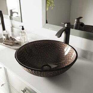 Affordable Price Tempered Glass Circular Vessel Bathroom Sink By VIGO