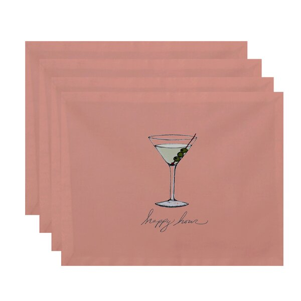 Felice Martini Glass Happy Hour Placemat (Set of 4) by Ivy Bronx