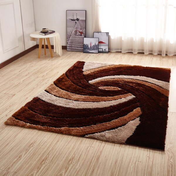 Kleiber Shaggy 3D Brown/Ivory/White Area Rug by Orren Ellis
