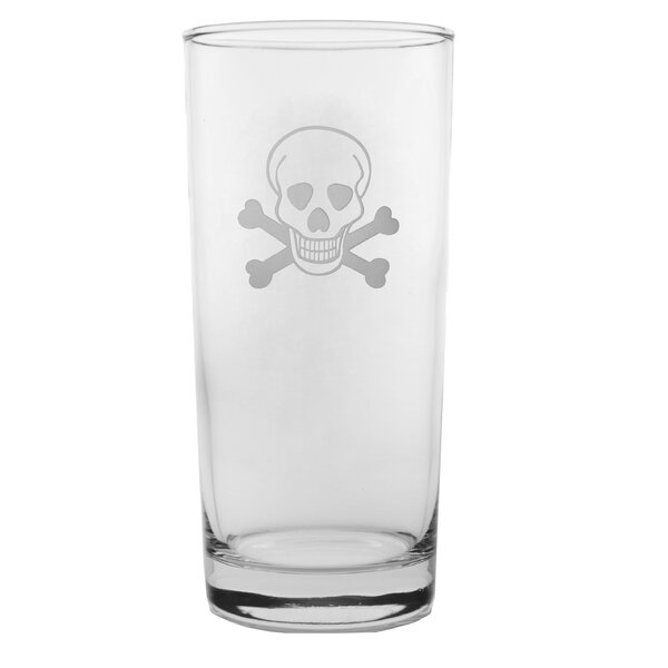 Skull and Cross Bones 15 oz. Highball Glass (Set of 4) by Rolf Glass