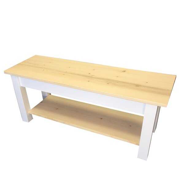 Jarrard Wood Bench with Shelf by Highland Dunes