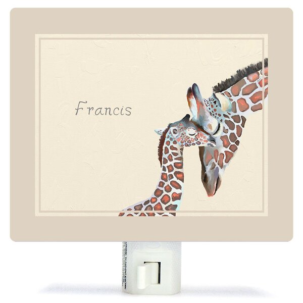Personalized You And Me Giraffe Neutral Canvas Night Light by Oopsy Daisy