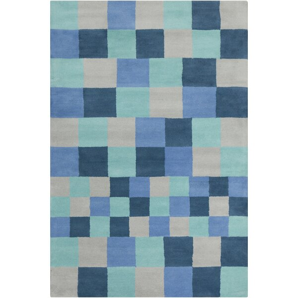 Burns Patterned Contemporary Blue & Gray Area Rug by Wrought Studio