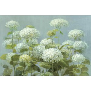 White Hydrangea Garden Painting Print on Wrapped Canvas by August Grove