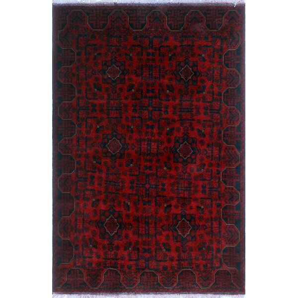 One-of-a-Kind Millar Mandala Hand-Knotted Wool Red Are Rug by Bloomsbury Market