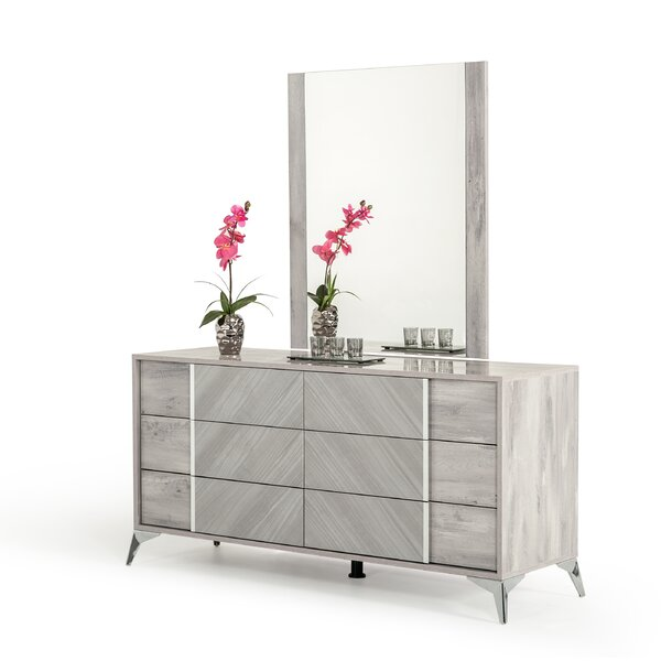 Marisol 6 Drawer Dresser with Mirror by Mercer41