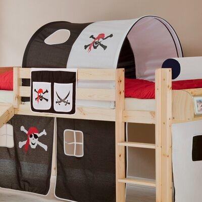 Hochbett Manuel mit Vorhang  90 x 200 cm   Kinderzimmer > Kinderbetten > Hochbetten   Holz - Baumwolle   TICAA