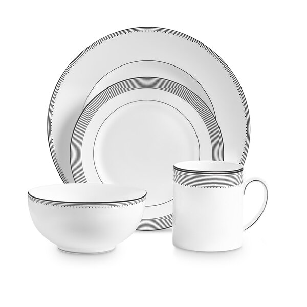Grosgrain 4 Piece Bone China Place Setting Set, Service for 1 by Vera Wang