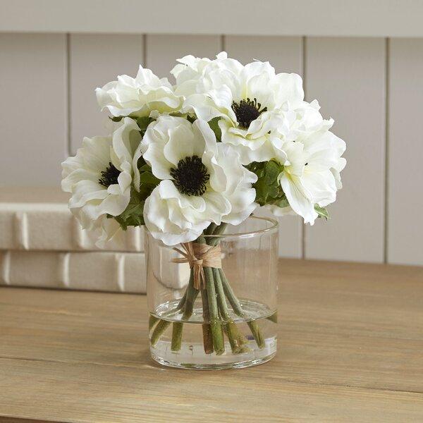 White Anemone Short Bouquet in Glass Vase by Birch Lane™