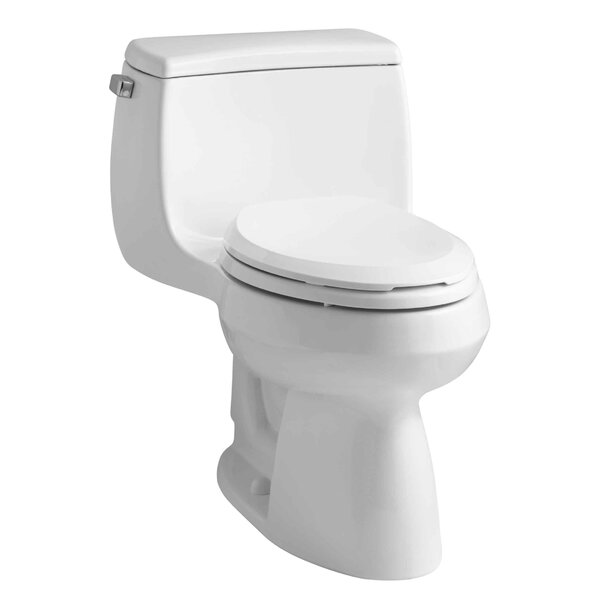 Gabrielle Comfort Height One-Piece Elongated 1.28 GPF Toilet with Aquapiston Flush Technology and Left-Hand Trip Lever by Kohler