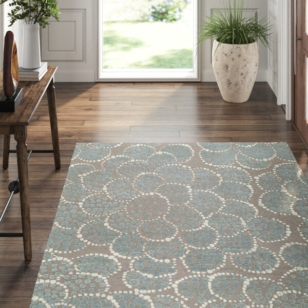 Effervescence Abstract Hand-Knotted Wool/Silk Gray Area Rug