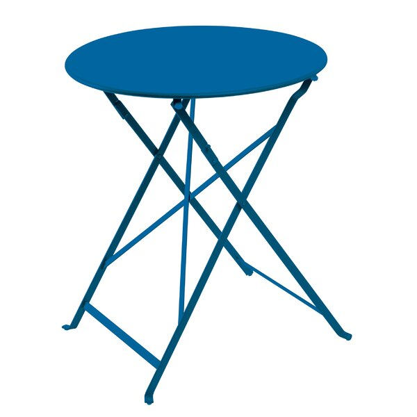 Fennell Patio Round Folding Powder Coated Steel Bistro Table by Highland Dunes