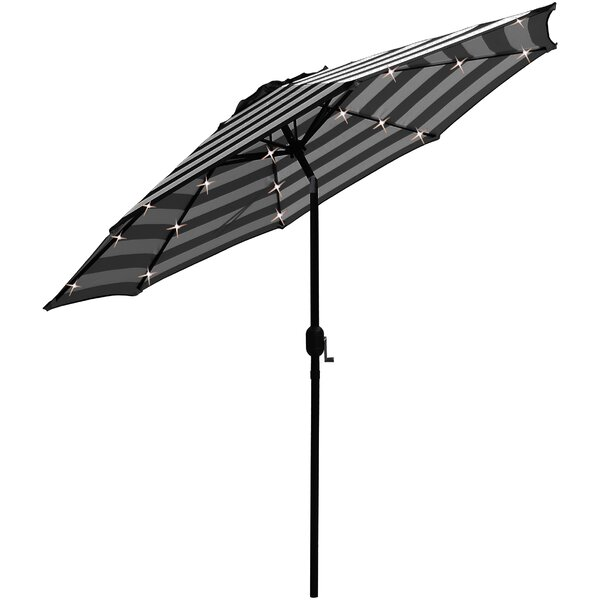 Solar Led Lighted Patio 9' Black Market Umbrella By Charlton Home by Charlton Home Bargain