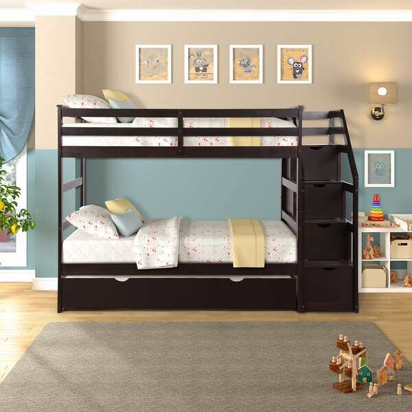 Lonoke Twin Over Twin Bunk Bed with 4 Drawers and Trundle by Harriet Bee