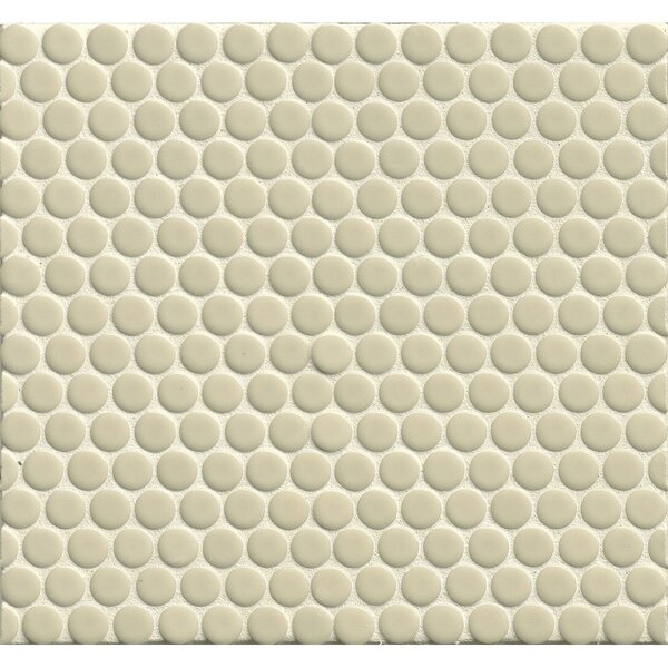 Penny Round Mosaic 12 x 12 Porcelain Tile in Off White by Grayson Martin