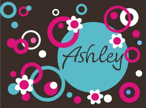 Personalized Circles Dots and Flowers Wall Decal by Alphabet Garden Designs