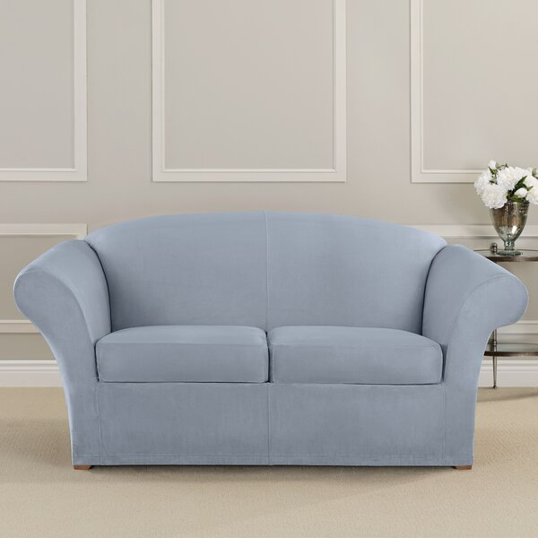 Ultimate Heavyweight Stretch Suede Box Cushion Loveseat Slipcover