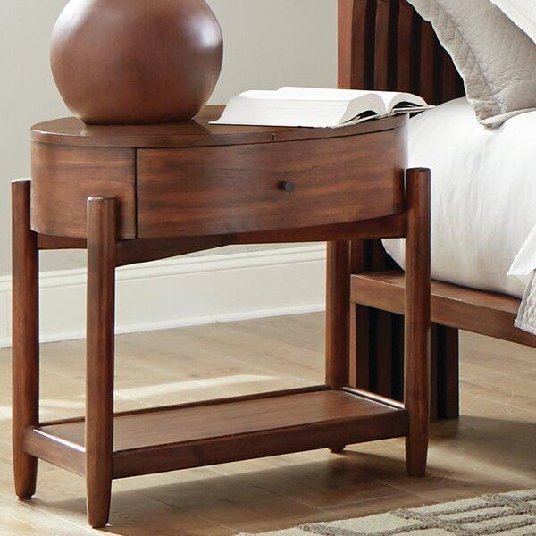 Cobbs Oval Nightstand With Wood Top Desert Teak by Corrigan Studio