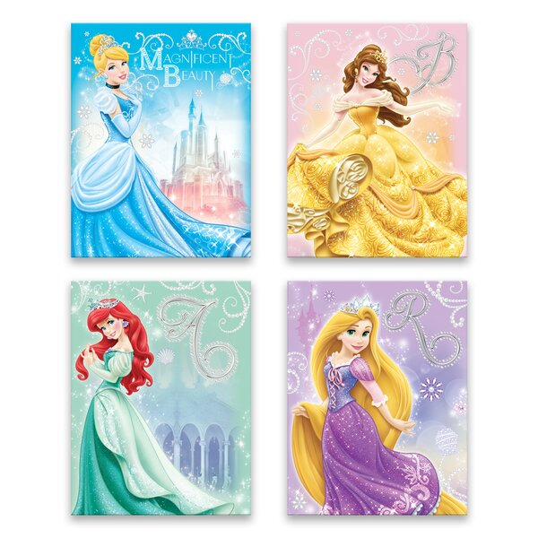 Classic Disney Princesses 4 Piece Graphic Art Print Set On Canvas By Gallery Direct.
