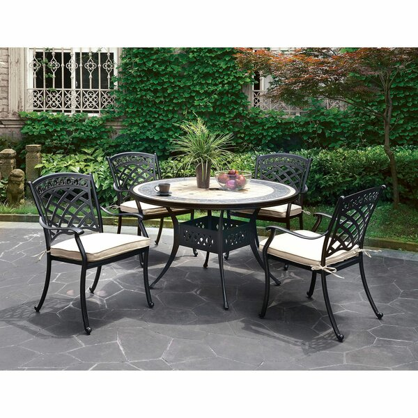 Cayuga Round Patio 5 Piece Dining Set with Cushions by Canora Grey