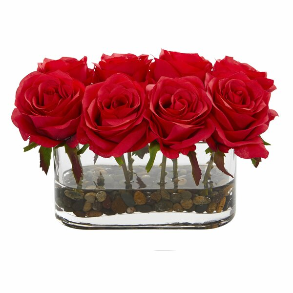 Blooming Rose Artificial Floral Arrangement in Glass Vase by Rosdorf Park