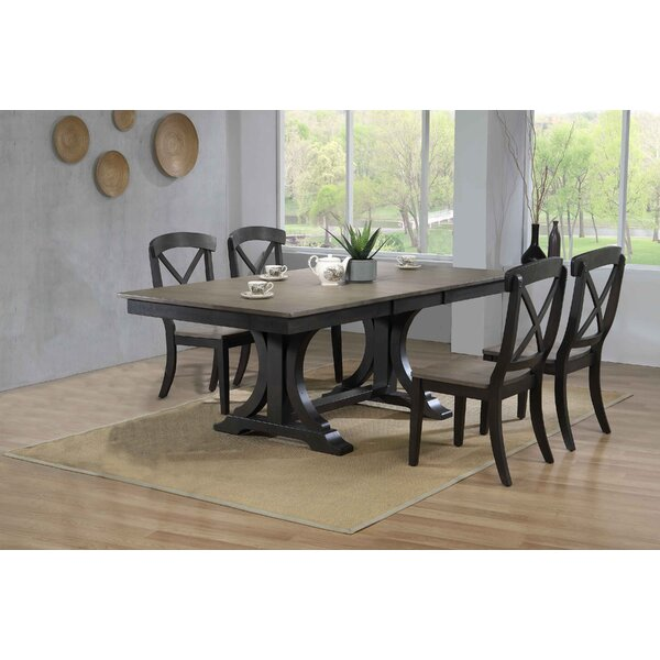 Gentle Double Pedestal Deco Transitional X-Back 5-Piece Solid Wood Dining Set by Gracie Oaks