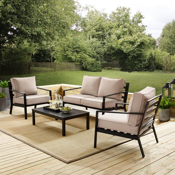 4 Piece Deep Seating Group with Cushions by Charlton Home