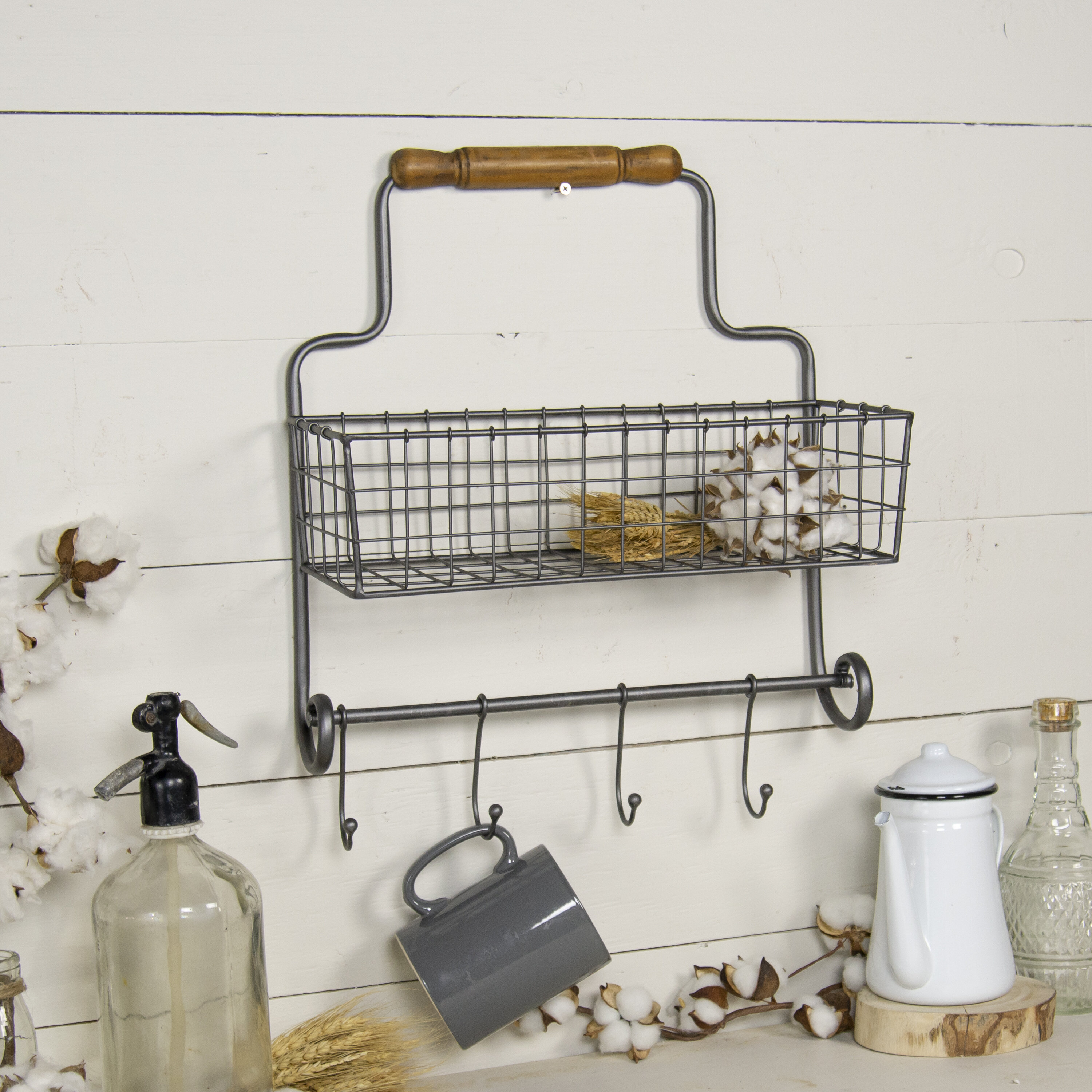 Erie Metal Wall Organizer with Baskets