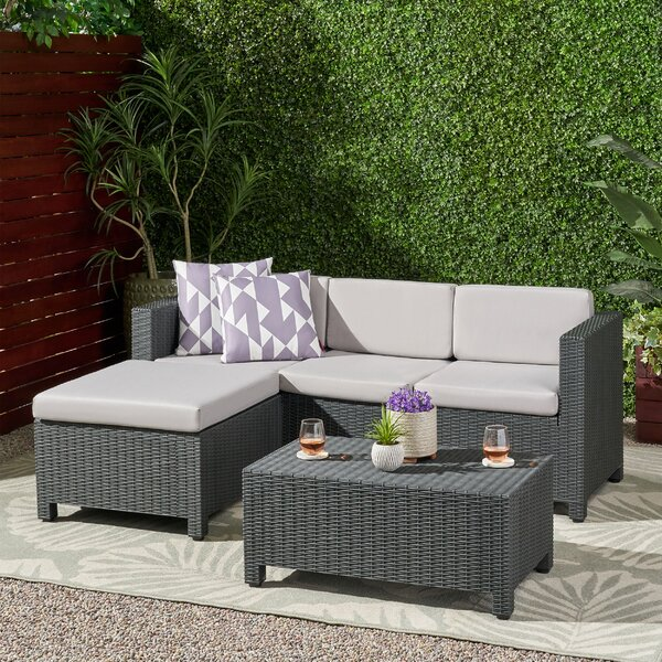 5 Piece Rattan Print Sectional Seating Group with Cushions Breakwater Bay W002253541