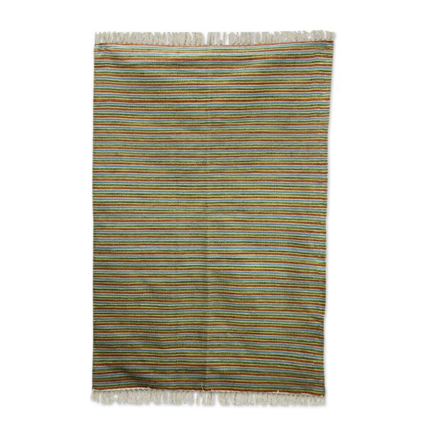 Hand Woven Blue/Yellow/Rust Area Rug by Novica