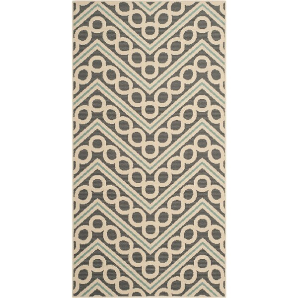 Hampton Dark Grey/Ivory Chevron Outdoor Area Rug by Safavieh