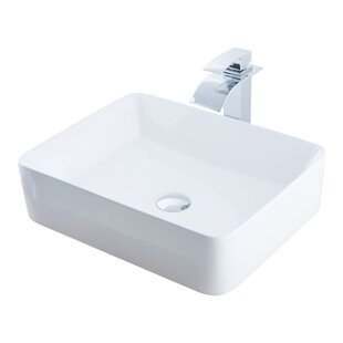 Price Check Ceramic Rectangular Vessel Bathroom Sink with Faucet By Novatto