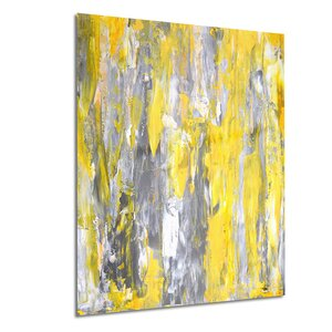 Metal 'Gray and Yellow Abstract' Painting Print by Design Art