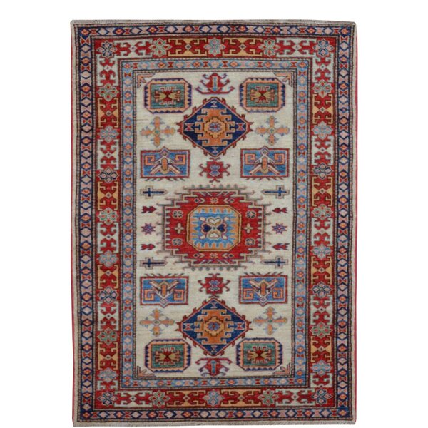 Kazak Hand-Knotted Red/Blue Area Rug by Wildon Home ®