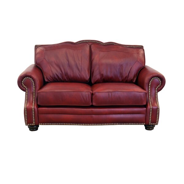 Stay On Trend This Winchester Leather Loveseat by Westland and Birch by Westland and Birch