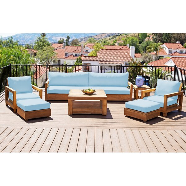 Crelake Deluxe 7 Piece Teak Sunbrella Complete Patio Set with Cushions by Foundry Select