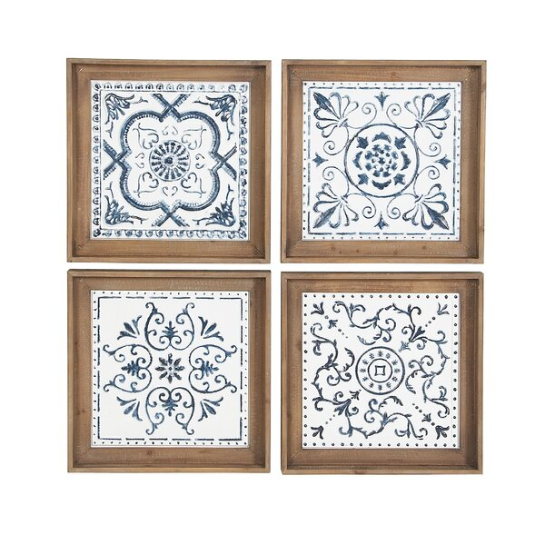 Contemporary 4 Piece Framed Print on Wood Set by Charlton Home