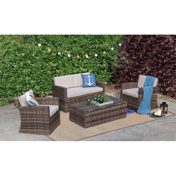 Spann 4 Piece Rattan Sofa Seating Group with Cushions by Rosecliff Heights