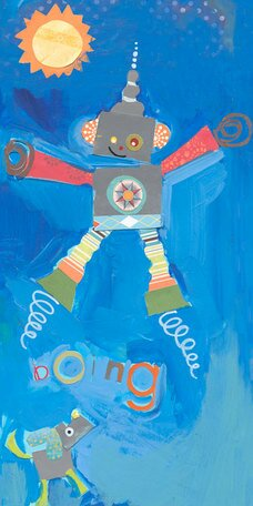 Jumping Robot Canvas Art by Oopsy Daisy