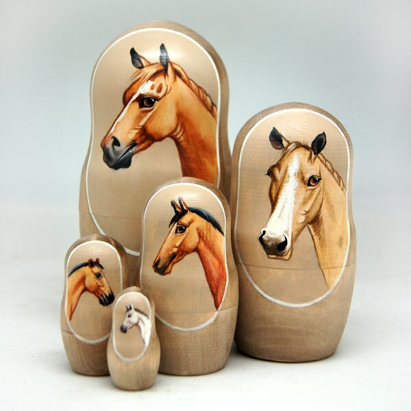 MacDonncha Horse 5 Piece Nested Doll Set by Red Barrel Studio
