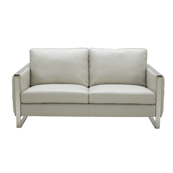 Price Decrease Hewins Leather Loveseat by Orren Ellis by Orren Ellis