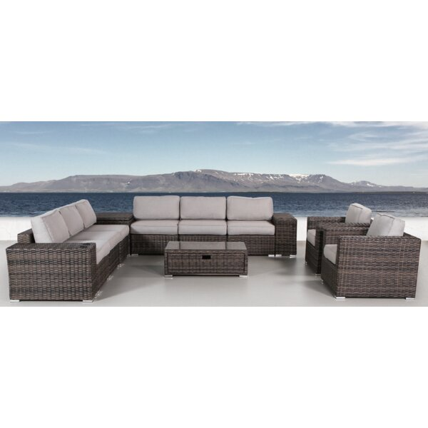 Eldora 12 Piece Rattan Sectional Seating Group with Cushions by Sol 72 Outdoor