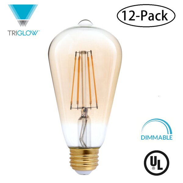 40W Equivalent Amber E26 LED Standard Edison Light Bulb (Set of 12) by TriGlow