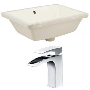 Look for Ceramic Rectangular Undermount Bathroom Sink with Faucet and Overflow ByRoyal Purple Bath Kitchen