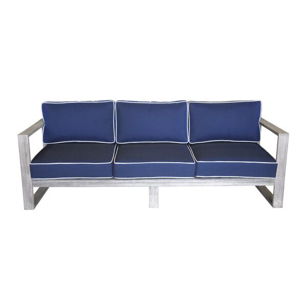 Asther Teak Patio Sofa with Cushions by Longshore Tides