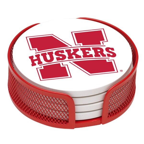 5 Piece University of Nebraska Collegiate Coaster Gift Set by Thirstystone