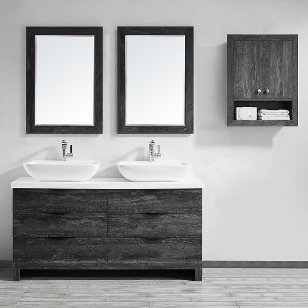 Kelsey 60 Double Bathroom Vanity Set with Mirror by Union Rustic