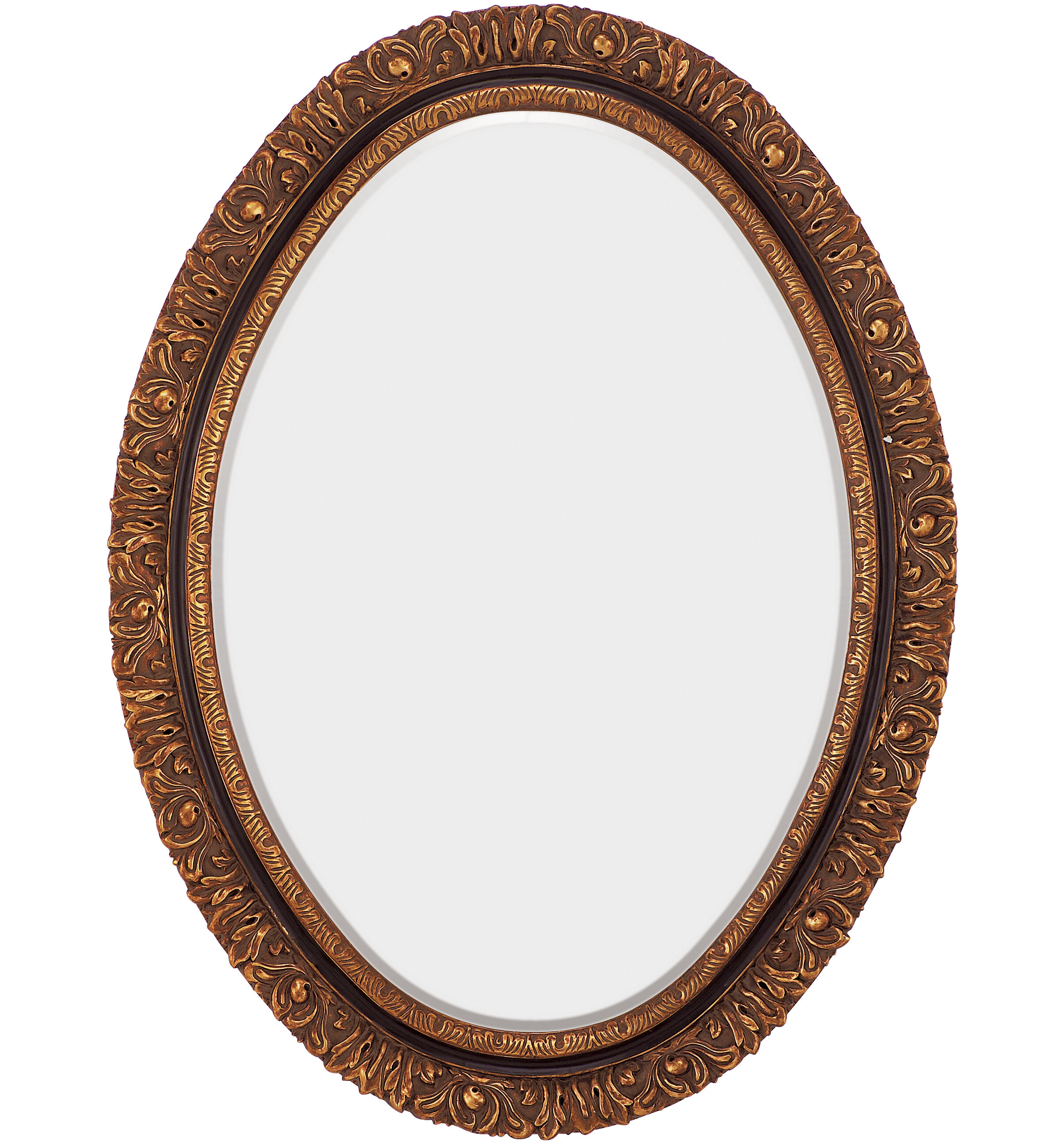 Majestic Mirror Traditional Oval Gold and Black Antique Beveled ...