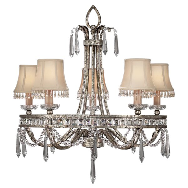 Winter Palace 5 - Light Shaded Wagon Wheel Chandelier By Fine Art Lamps